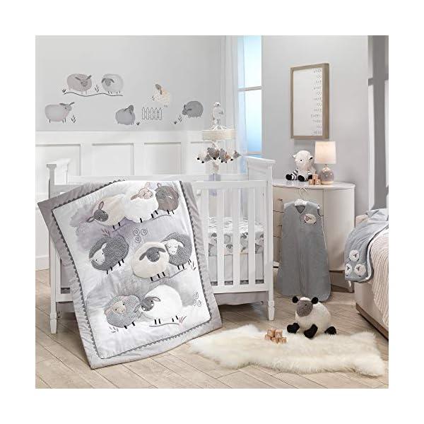 Lambs & Ivy Sleepy Sheep 5-Piece Gray/White Watercolor Baby Crib Bedding Set