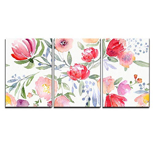 wall26 - 3 Piece Canvas Wall Art - Watercolor Floral Botanical Pattern and Seamless Background - Modern Home Art Stretched and Framed Ready to Hang - 16'x24'x3 Panels