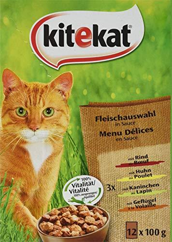 Kitekat Katzenfutter Nassfutter Klassische Auswahl in Sauce, 12 Portionsbeutel (12 x 100g)