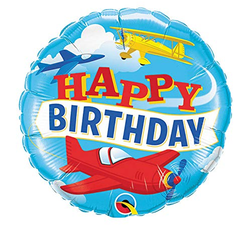 For Sale! Qualatex 91775 18 in. Happy Birthday Airplanes Flat Foil Balloon - Pack of 5