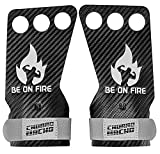 CHURRO MACHO Cross Training 3 Hole Carbon Leather Grey Hand Grips Gloves for Palm Protection for Crossfit Gymnastics Weightlifting Pull Ups Muscle Ups T2B C2B Home WOD for Men and Women (Large)