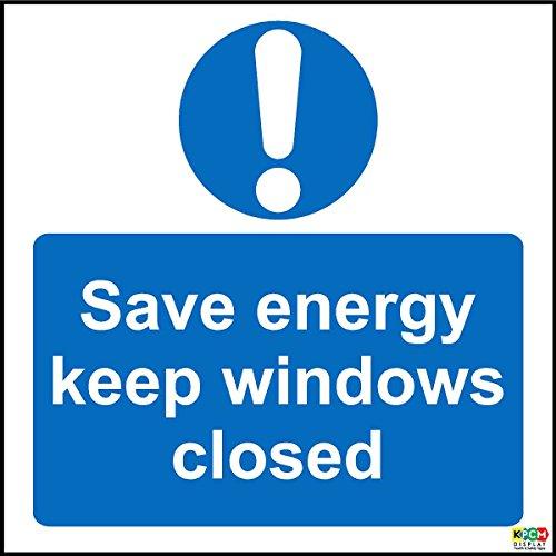 Spaar energie houden ramen gesloten teken - Zelfklevende vinyl 100mm x 100mm