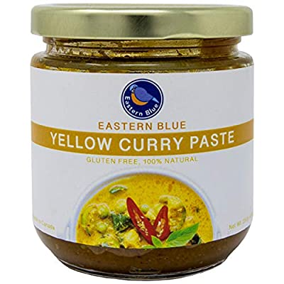 Eastern Blue Curry Paste - Thai Yellow Curry Paste is Vegan, Gluten Free, Dairy Free, Nuts Free with no preservatives. Make a variety of meals ie., Curry, Soup, Stir-Fry, Spicy Rice, Coconut Noodle Soup or used as marinated BBQ. 4 Ounce ( Pack of 2 )