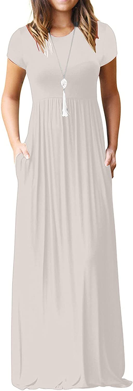 Women's Crew Neck Maxi Dress Short Sleeve Dress Casual Costume Club Party Dress Elegant Dress Stretchy Trend Dress