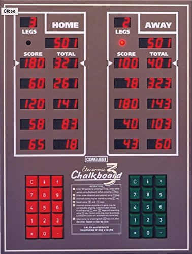 Conquest Chalkboard Electronic Deluxe Darts Scorer Wall Mountable