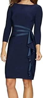 American Living Womens Dress Blue US Size 16 Satin Ruffle Side Sheath