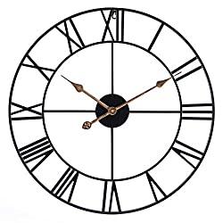 Infinity Time 24Inch Round Oversized Roman Numeral Style Home Decor Analog Black Metal Clock-Indoor Silent Battery Operated Country Farmhouse Decorative Metal Wall Clock for Home( Antique Gold Hands)