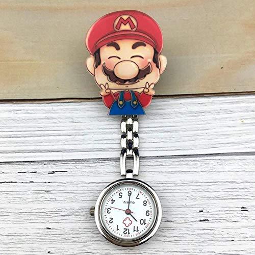 dihui Reloj de Bolsillo con Broche,Reloj de Bolsillo con Clip médico, Lindo Reloj de Enfermera-Azul Marino,Reloj de Enfermera Resistente al Agua