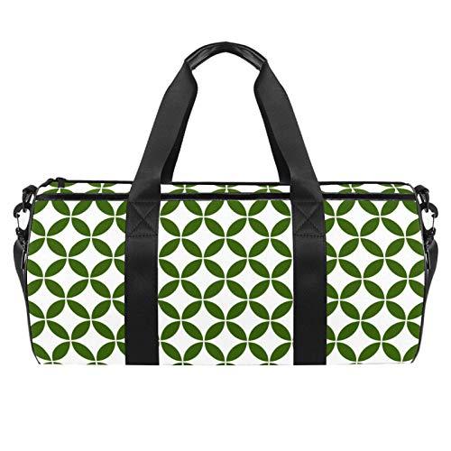 Bolsa de viaje cilíndrica japonesa con patrón circular geométrico verde geométrico japonés con bolsillo mojado, bolsa de entrenamiento ligera de viaje con correa para el hombro para hombres y mujeres