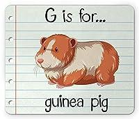 モルモットマウスパッド、Gは、モルモットのテキスト用です。ふわふわした動物のノートブックの背景、標準サイズの長方形の滑り止めラバーマウスパッド、シナモンペールミント、ベージュ