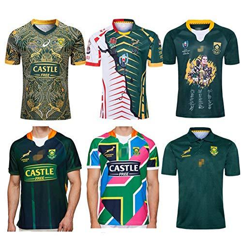 Herren Rugby Trikot, Südafrika 100. Jubiläum Edition Rugby Polo Shirt Training T-Shirt, 7s Champion Signed Edition Unterstützer Fußball Sport Top, Bestes Geburtstagsgeschenk-WorldCup-XXL
