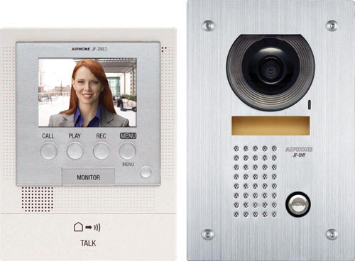 Aiphone JFS-2AEDF Audio/Video Intercom System with Flush-Mount Door Station with Stainless Steel Faceplate for Single Door, Accepts an Additional Door Station and Up to Two Sub-Master Stations Color Sub Master Station