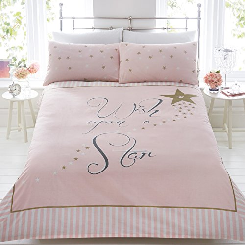 Just Contempo Graphic Printed Text Wish Upon A Star Duvet Cover Set, Pink, Double