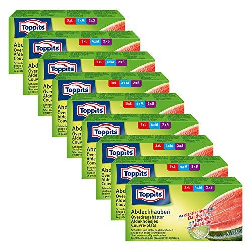 Toppits Abdeckhauben mit elastischem Bund, 9er Pack (9 x 9 Hauben)