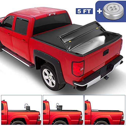 MOSTPLUS T3 Tri-Fold Soft Truck Bed Tonneau Cover Compatible for 2016 2017 2018 2019 2020 Toyota Tacoma Fleetside 5 FT Feet Bed | 60.5 Inch On Top