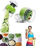 Miraladen - Cortador en espiral para verduras 4 en 1 (cortador de verduras, espaguetis de verduras, botones para cambiar la dieta, para zanahorias, pepinos, calabazas, calabazas, cebolla)