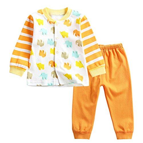 OHmais Bébé fille garçon Unisexe Grenouillère ensemble de pyjama 2 pieces coton rayure orange size 73