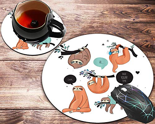 Round Mouse Pad and Coasters Set, Animal Lazy Sleepy Bear Tribe of Australian Sloths Mousepad, Non-Slip Rubber Round Mouse Pad, Customized Mouse Mat for Working and Gaming