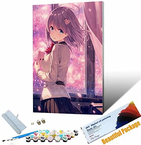 Vfvozr Tenwind Pintar por números Chica Anime para Adultos DIY Paint by Numbers Pintura por Números con Pinceles y Regalo 40x50cm Sin Marco