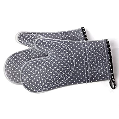 Chef's Heat Resistant Silicone Kitchen Cooking Oven Mitts – Set of 2 Baking Mittens with Cotton Linings