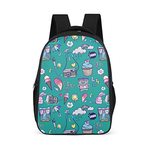 Rucksack Eiscreme Kuchen Kamera Eule Regenschirm Muster Bookbag Leichte Tagesrucksack Business Tasche für Männer Frauen, - Hellgrau. - Größe: Einheitsgröße