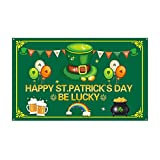 St Patrick's Day Burlap Garden Flag, Double Sided Outdoor Lawn Yard Home Decoration Small Flag Irish Shamrock Clover Banner Holiday Green Clover Party Beer Accessories Decor (110x180cm/43 x 71In)