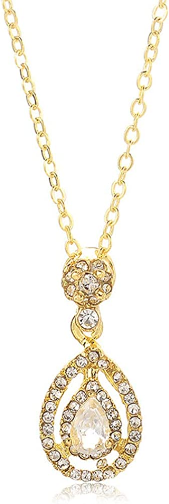 Drop Shaped Necklace, Creative Charm Water Drop Shaped Rhinestone Necklace Jewelry Gift for Women - Golden