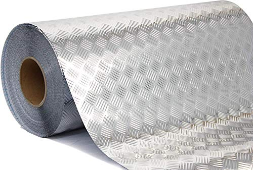 Industrial Utility Diamond Plate Metallic Chrome Finish Vinyl Wrap Sheet Roll Adhesive Roll (17.8 Inches x 3ft)