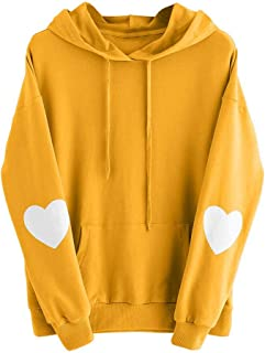 Womens Solid Long Sleeve Heart Hoodie Sweatshirt Jumper Hooded Pullover Plus Size Tops Blouse