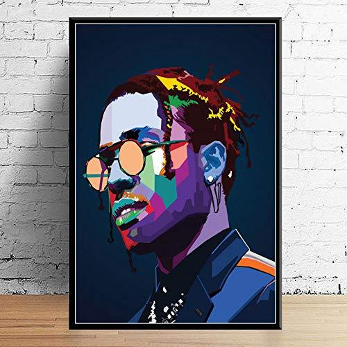 Juice Wrld J Cole Post Malone Mac Miller Travis Scoot Rapper Hip Hop Star Art Decor Calidad Lienzo Decoración para El Hogar Póster Decoración De Pared B1 50X70Cm sin Marcos