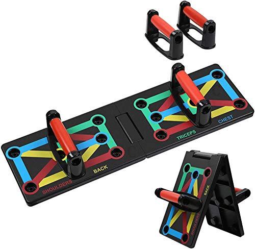 MBMT 12 en 1 Push Up Board System, plataforma técnica Push Up plegable, equipo de fitness multifuncional con código de color para la gimnasia en casa y el entrenamiento muscular