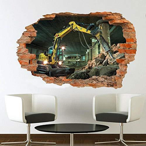 Pegatinas de pared-3D-TÚNEL EXCAVADORA SITIO DE TRABAJO PEGATINAS DE PARED ART MURAL SALA OFICINA TIENDA DECORACIÓN-50x70cm