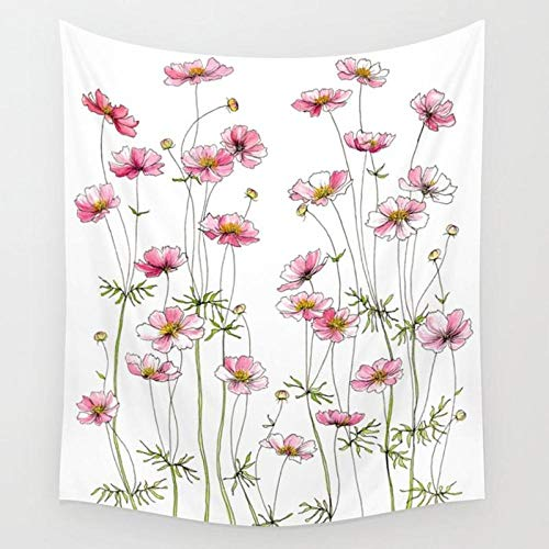 Flores rosadas Comos Tapiz de flores Colgante de pared Floral Tapiz amarillo Papel tapiz Decoración para el hogar Tapices de tamaño pequeño Alfombra Boho 150x200cm