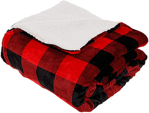 Mindful Design Buffalo Plaid Convertible Sleeping Bag Blanket with Sherpa Lining for Camping, Bedding & Cozy Living