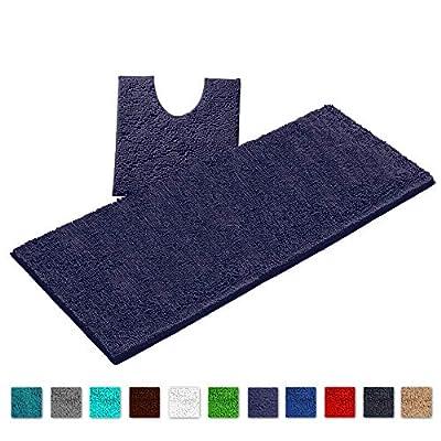 LuxUrux Bathroom Rugs Luxury Chenille 2-Piece Bath Mat Set, Soft Plush Anti-Slip Bath Rug +Toilet Mat.1'' Microfiber Shaggy Carpet, Super Absorbent Machine Washable (Curved Set X-Large, Blue-Purple)