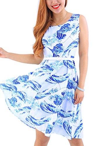 YMING Damen Ärmellos Kleid Partykleid Schwing Kleid A-Linie Cocktailkleid Mini Kleid Blau Kanagawa Welle XXL