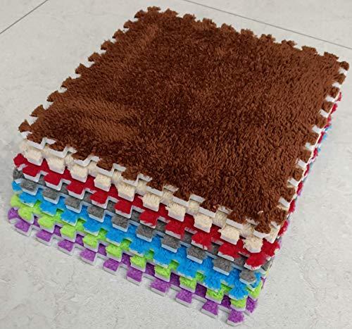 BuyElegant 10 stks EVA pluche puzzel gebied tapijt vloermatten ontwerp uw eigen tapijt Interlock tapijt tegels DIY gemakkelijk schoon Play Mat, Yoga, Oefening elke tegel 30 x 30 cm