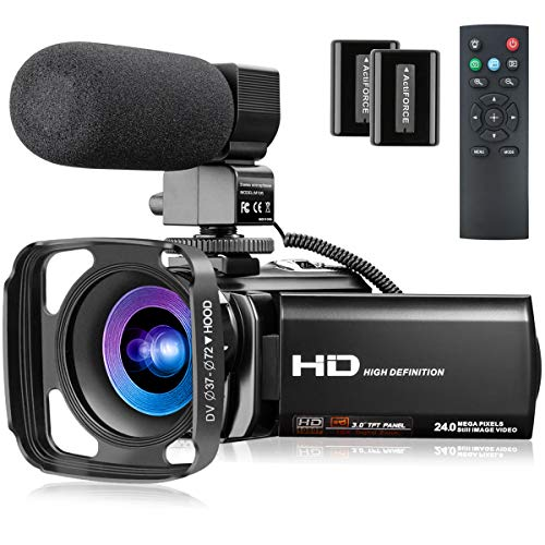Video Camera with Microphone, FHD 1080P 30FPS 24MP Camcorder YouTube Vlogging Cameras 16X Digital Zoom 3.0 Inch 270° Rotation Screen Webcam Video Camera Recorder with Hood, Remote and 2 Batteries