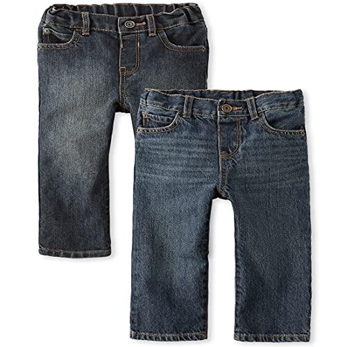 The Children's Place Pantalones Vaqueros básicos de Pierna Recta para niños pequeños, Dk Juptier - Juego de 2 lavadores, 4 Años
