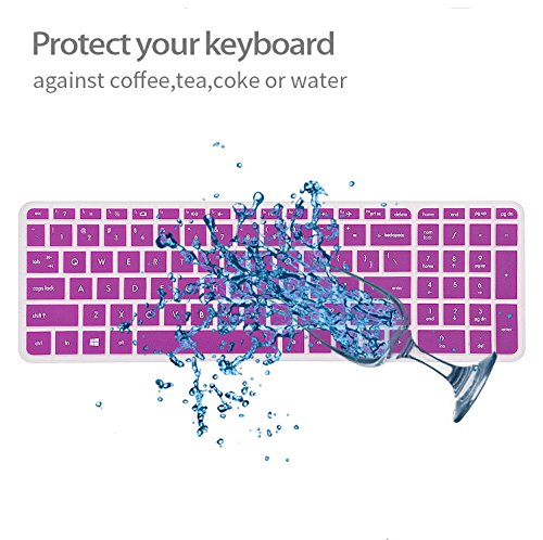 Keyboard Cover Skin For 15.6-Inch HP Pavilion 15-ab 15-ac 15-ae 15-af 15-an 15-ak 15-ay 15-ax 15-as 15-ba 15-bc 15-bk Series, HP Envy x360 m6-ae151dx m6-p113dx m6-w (US New Layout) (Purple)