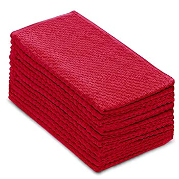 COTTON CRAFT - 12 Pack - Euro Cafe Waffle Weave Terry Kitchen Towels - 16x28 Inches - Red - 420 GSM Quality -Ringspun 2 Ply Cotton - Highly Absorbent Low Lint - Multi Purpose