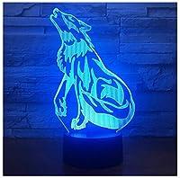 3Dイリュージョンナイトライト ハウリングオオカミ キッズ3D目の錯覚7色LEDナイトライトボーイキッズおもちゃベビースリープデスクランプ寝室の装飾誕生日クリスマスクリエイティビティギフト