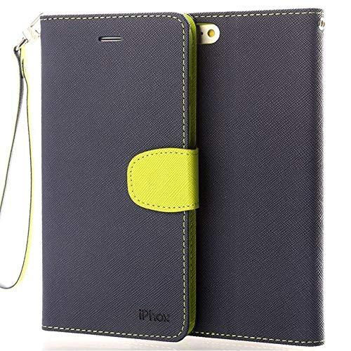 Handy 6 Plus Hülle, IPHOX Handyhülle iPhone 6S Plus Tasche Lederhülle Leder Wallet Flip Hülle Kartenfächern Handschlaufe Brieftasche Etui Schutzhülle für Apple iPhone 6Plus / 6SPlus -Blau / CP