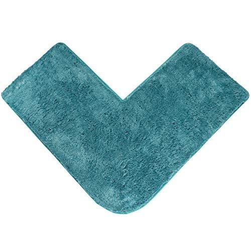 Santec Mikrofaser Hochflor-Badteppich für Eckduschen, mit rutschfester Unterseite