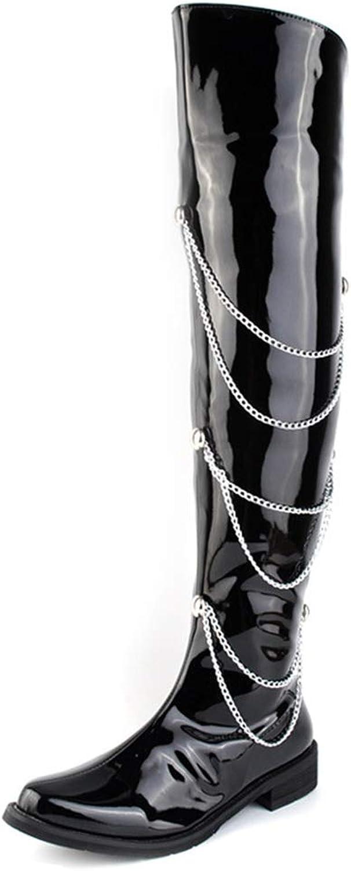 Mode över Knee höga stövlar, Synthetic Synthetic Synthetic Patent läder Side Zipper Chain Decoration Motorcycle stövlar for män (Färg  svart, Storlek  6.5 UK)  officiell hemsida