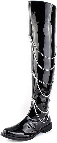 SRY-schuhe de Moda Guantes de Cuero sintético de Charol Cremallera Lateral decoración de Cadena Stiefel de Motocicleta Moda de Hombre sobre la Rodilla Stiefel Altas