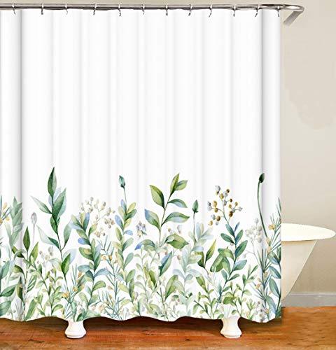 MundW DasDesign Duschvorhang grün Pflanzen Badezimmer Textil beige Blumen waschbar Blätter Vorhang Antischimmel-Effekt Shower Curtain Badewanne inkl. 12 C-Ringe Gewicht unten 180 x 200 cm