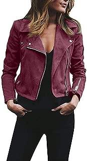 GREFER Women Tops Ladies Retro Rivet Zipper Up Bomber Jacket Casual Coat Outwear