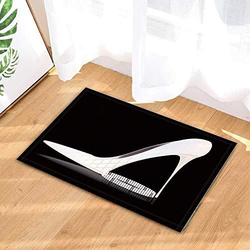 rrrrrr Ducha de Mujer,Zapatos de Dama Blancos con Cuentas en el baño Negro