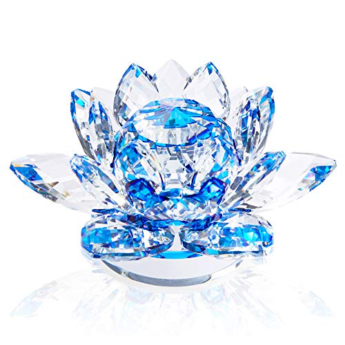 Blue Crystal Lotus Flower Figurine for Home Decor, Paperweight (5 x 5 x 2.6 in)